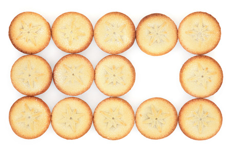 mince pie: Christmas mince pie cakes with star design over white background.