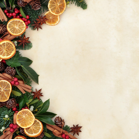 old fashioned christmas: Christmas background border with dried fruit and cinnamon spice with fir, holly, ivy, mistletoe and pine cones over parchment paper
