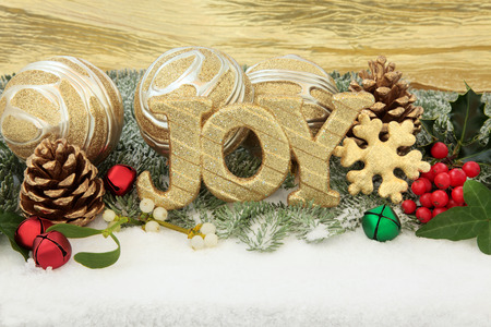 christmas joy sign with gold bauble decorations holly and winter stock photo picture and royalty free image image 30647256