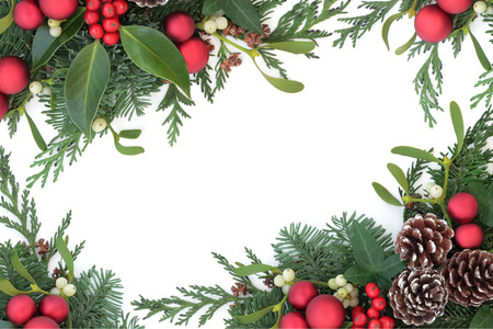 sprigs: Christmas background border with red bauble decorations, holly, mistletoe, ivy, fir and cedar leaf sprigs with pine cones over white background.