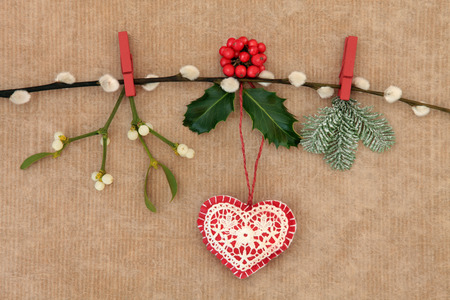 christmas pussy: Christmas heart decoration, with holly, fir and mistletoe on a  pussy willow branch over old brown paper background.