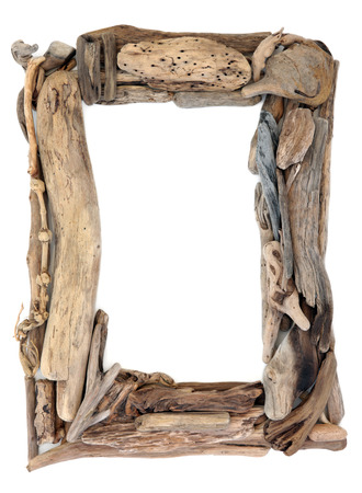 driftwood: Driftwood frame over a white background.
