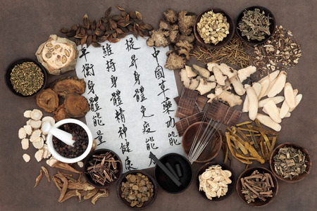Chinese herbal medicine selection, acupuncture needles, moxa sticks and mandarin calligraphy script. Translation describes chinese herbal medicine as increasing the bodys ability to maintain body and spirit health and balance energy. Stock Photo