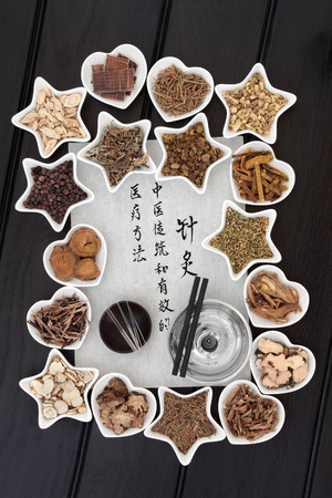 describes: Chinese herbal medicine selection, acupuncture needles and moxa sticks with calligraphy script. Translation describes acupuncture chinese medicine as a traditional and effective medical solution.
