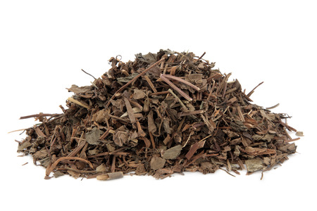 xing: Houttunynia herb used in chinese herbal medicine over white background.  Yu xing cao.