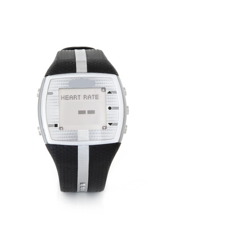 heart monitor: Heart rate monitor sensor watch over white background with copy space.