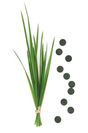 cebada: Comprimidos de Chlorella y la hierba de trigo sobre fondo blanco.