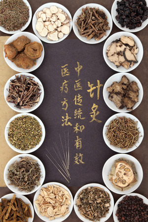 oriental medicine: Acupuncture needles with chinese herbal medicine selection and calligraphy script. Translation describes acupuncture chinese medicine as a traditional and effective medical solution.