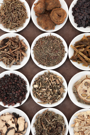 traditional remedy: Chinese herbal medicine selection in porcelain bowls over brown paper background. Stock Photo
