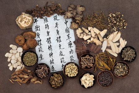 qi: Large chinese herb selection with mandarin calligraphy script. Translation describes chinese herbal medicine as increasing the bodys ability to maintain body and spirit health and balance energy.