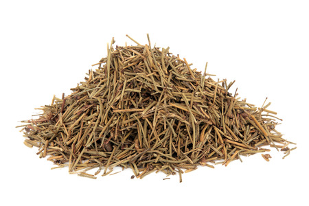 traditional remedy: Ephedra herb used in chinese herbal medicine over white background.  Ma huang.