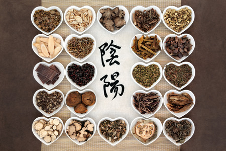chinese herbal medicine: Yin and yang herb selection used in chinese herbal medicine with calligraphy script. Translation reads as yin yang.