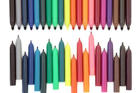 felt tip: Coloured felt tip pens over white background. Stock Photo