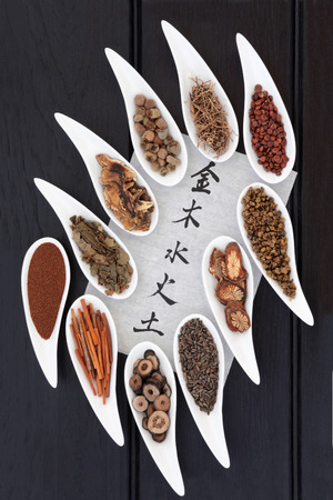 xing: Chinese herbal medicine selection in porcelain dishes with five elements calligraphy script over dark oak background. Translation reads as five elements. Wu xing.