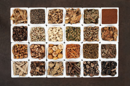 chinese herbal: Large chinese herbal medicine selection in white porcelain bowls.