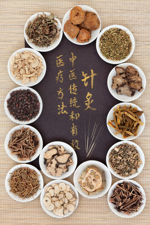 healing with chi: Acupuncture needles and chinese herbal medicine selection with calligraphy script. Translation reads as acupuncture chinese medicine is a traditional and effective medical solution. Stock Photo