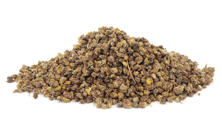 traditional remedy: Dried wild chrysanthemum flowers used in chinese herbal medicine over white background. Ye ju hua. Flos chrysanthemi indici.
