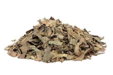 Loquat leaf used in chinese herbal medicine over white background. Pi pa ye. Folium eriobatryae japonicae.