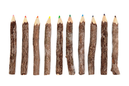 coloured pencil: Rustic wood coloured pencil set over white background.