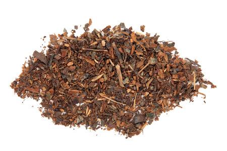 inflammatory: Wild cherry bark herb over white background.