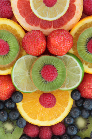 superfood: Fruit selection in abstract design forming a background.