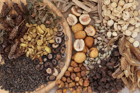 traditional medicine: Chinese herbal medicine selection forming a background. Stock Photo