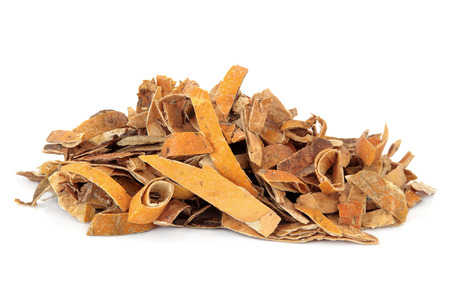 gua: Trichosanthes peel used in chinese herbal medicine over white background. Gua lou pi.