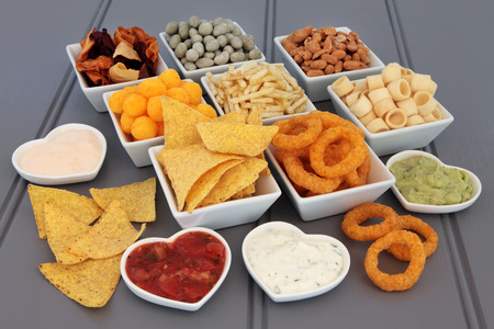 party with food: Crisp and dip party food selection in porcelain bowls.