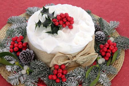 dundee: Christmas cake with holly, mistletoe and winter greenery over red background.