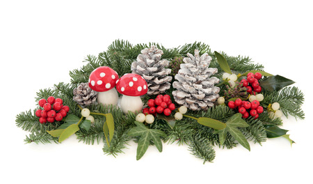 'fly agaric': Christmas decoration with fly agaric mushroom bauble, holly, mistletoe, ivy, pine cones and traditional winter greenery over white background.