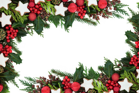 christmas ivy: Christmas background border with gingerbread star biscuits, red bauble decorations, holly, ivy, pine cones, cedar cypress and fir over white. Stock Photo