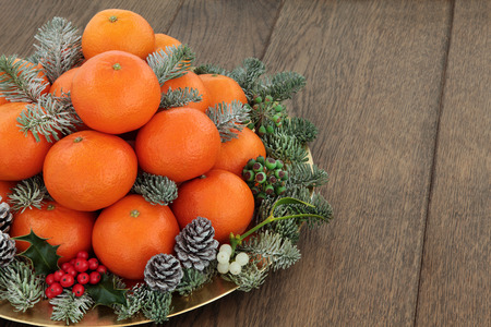 satsuma: Christmas satsuma tangerine orange fruit, holly,mistletoe, ivy and spruce pine fir with snow over oak background with copy space.