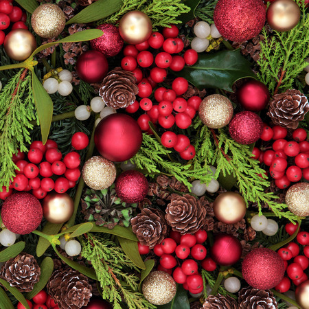 christmas trees: Christmas abstract background with red bauble decorations, holly, ivy, mistletoe, blue spruce fir and cedar cypress greenery.