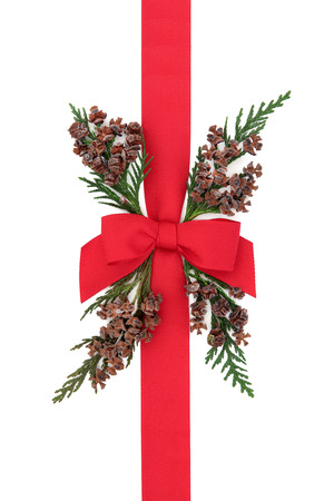 red ribbon bow: Gift box wrapping with red ribbon with  bow and cedar cypress greenery with pine cones over white background. Stock Photo