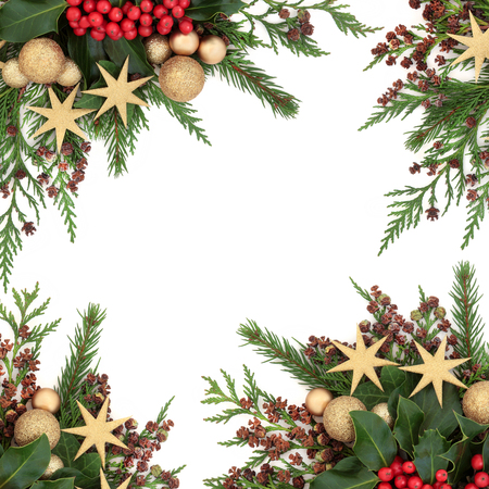 Christmas border with gold bauble and star decorations,  holly, ivy, fir and winter greenery over white background.