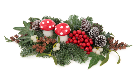 white fly: Christmas flora with fly agaric mushroom baubles, holly, mistletoe, ivy, pine cones and traditional greenery over white background. Stock Photo