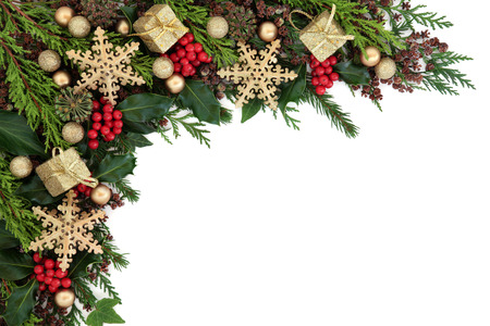 christmas ivy: Christmas abstract background border with gold bauble decorations, holly, ivy and  fir over white.