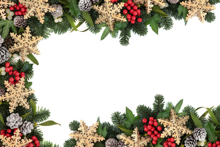 christmas ivy: Christmas abstract background border with gold snowflake bauble decorations, holly, ivy, mistletoe, snow covered pine cones and blue spruce fir over white.
