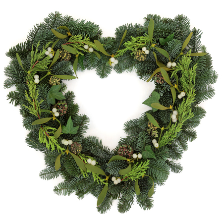 christmas ivy: Heart shaped christmas wreath with mistletoe, ivy and winter greenery over white background.