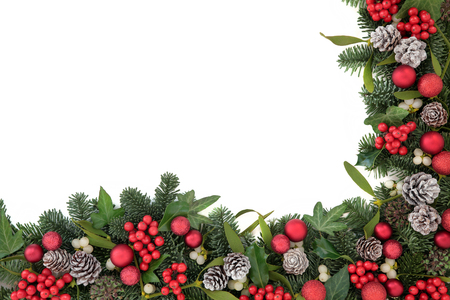 Christmas background border with bauble decorations, holly, ivy, mistletoe, pine cones and blue spruce fir over white.