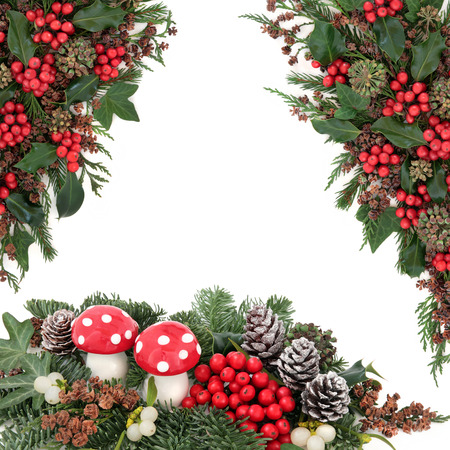 white fly: Christmas fantasy scene with fly agaric mushroom baubles, holly, mistletoe, ivy, snow tipped pine cones and traditional winter greenery over white with copy space. Stock Photo