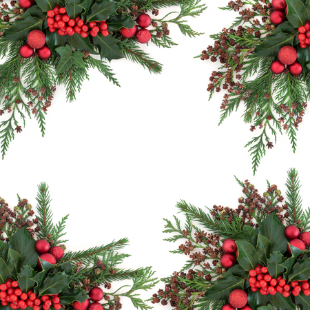 christmas bauble: Christmas and winter flora with red bauble decorations, holly, ivy, fir and cedar cypress over white background. Stock Photo