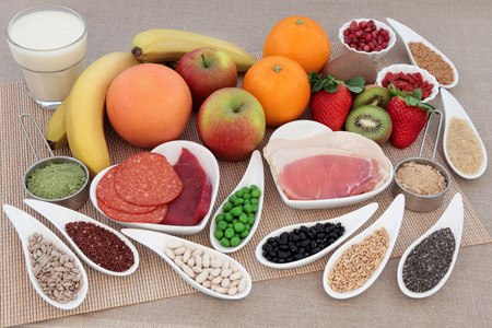 super food: Body building health and super food with high protein meat, pulses, seeds, nuts, grains, supplement powders with whey milk shake.