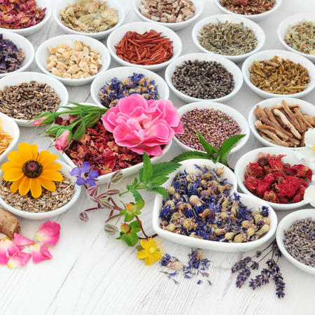 Flower and herb selection used in herbal medicine in porcelain bowls over distressed wooden background. Selective focus.