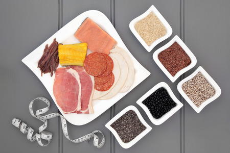 meat diet: High protein health food diet of meat, fish, pulses, grains and seeds and tape measure. Also eaten by body builders.