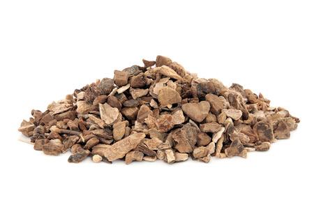 Wild yam root herb used in natural alternative herbal medicine over white background. Dioscoria villosa. Shan yao.