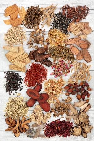 medical herbs: Chinese herbal medicine ingredients over distressed white wood background.
