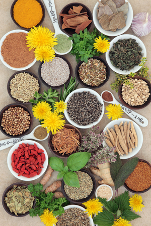 natural selection: Spices and herb selection used in natural alternative herbal medicine and for culinary purposes on hemp paper background.