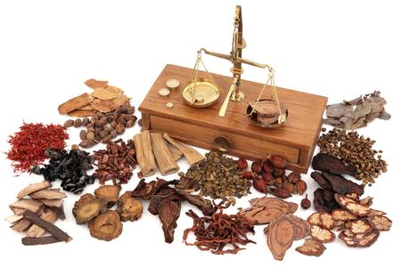 medicamento: ingredientes de hierbas chinas usadas en la medicina herbal tradicional con escamas de latón antiguo sobre fondo blanco.