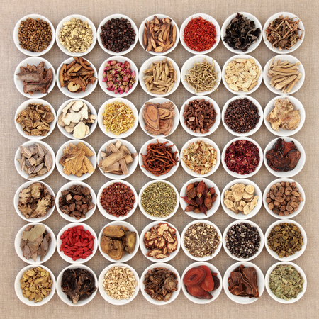 Traditional chinese herbal medicine ingredients in white china bowls over hessian background. Archivio Fotografico